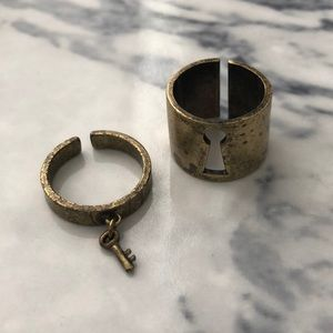 "Jewelmint ""Lock & Key"" Rustic Gold Rings"